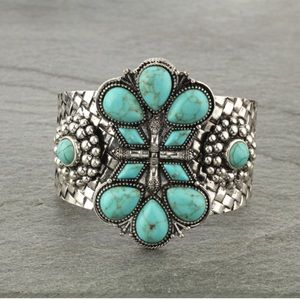 Western Style Faux Turquoise Cuff Bracelet